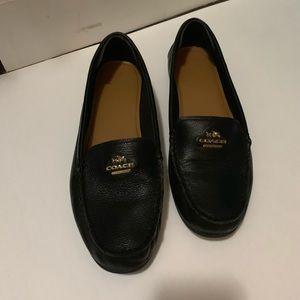 Black Pebble Grain Leather Coach Loafers